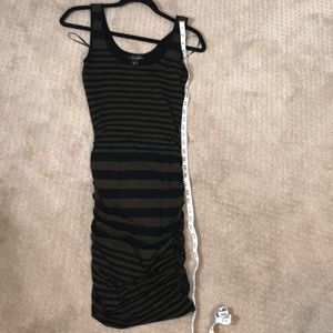 Fitted green and blk striped dress from mango.